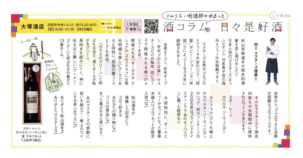 酒コラム34 祝!!マスターズ優勝!!